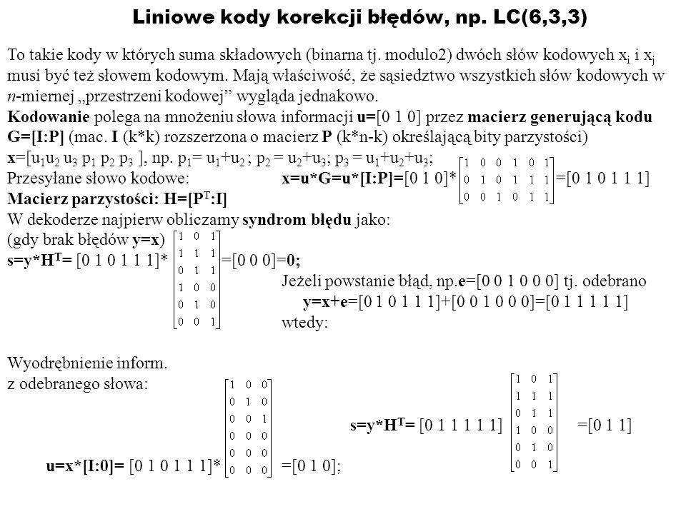 Liniowe kody korekcji błędów, np. LC(6,3,3)