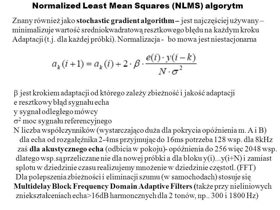 Normalized Least Mean Squares (NLMS) algorytm