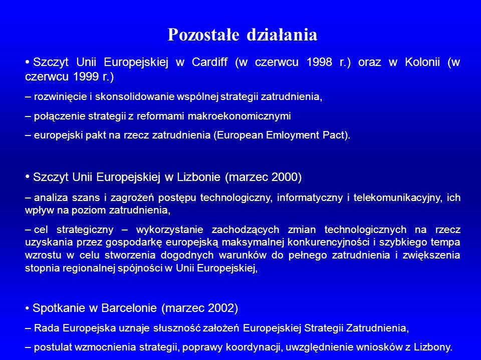 Pozostałe działania Szczyt Unii Europejskiej w Cardiff (w czerwcu 1998 r.) oraz w Kolonii (w czerwcu 1999 r.)