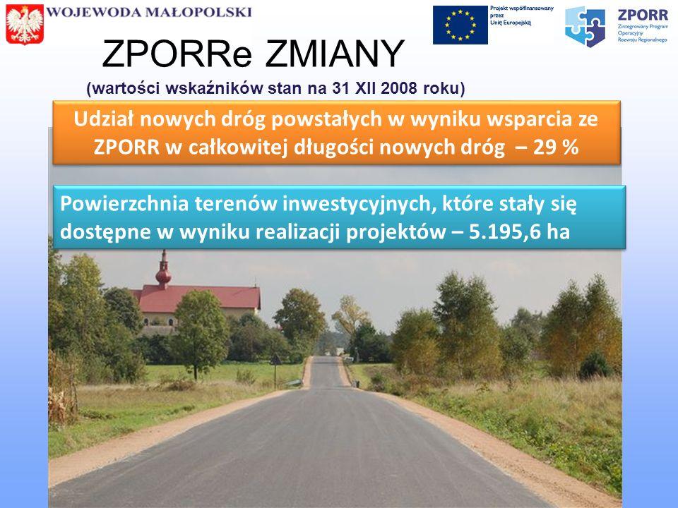 ZPORRe ZMIANY (wartości wskaźników stan na 31 XII 2008 roku)