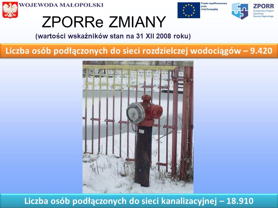 ZPORRe ZMIANY (wartości wskaźników stan na 31 XII 2008 roku) Liczba osób podłączonych do sieci rozdzielczej wodociągów – 9.420.