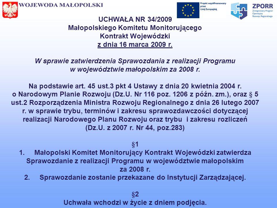 Małopolskiego Komitetu Monitorującego Kontrakt Wojewódzki