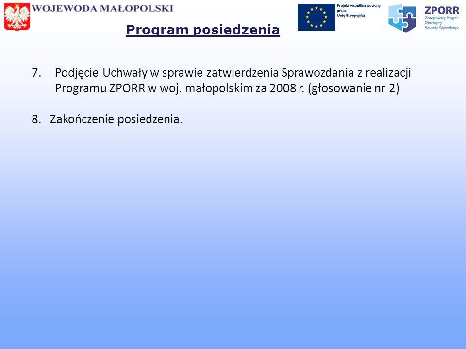 Program posiedzenia Podjęcie Uchwały w sprawie zatwierdzenia Sprawozdania z realizacji Programu ZPORR w woj. małopolskim za 2008 r. (głosowanie nr 2)