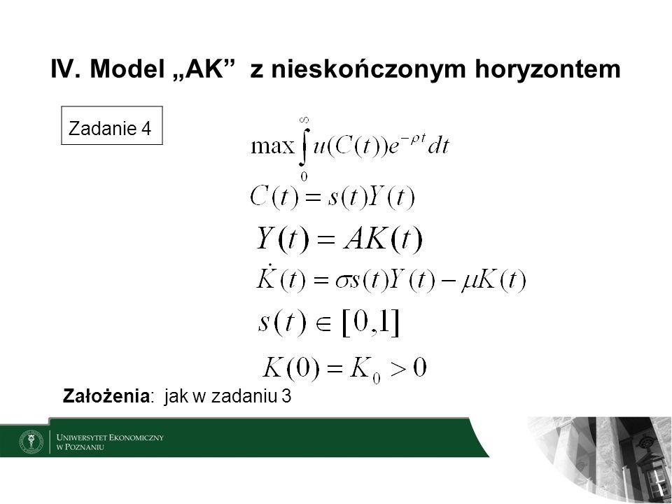 """IV. Model """"AK z nieskończonym horyzontem"""