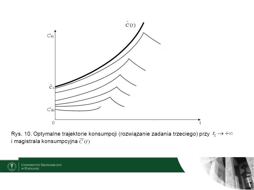 Rys. 10. Optymalne trajektorie konsumpcji (rozwiązanie zadania trzeciego) przy
