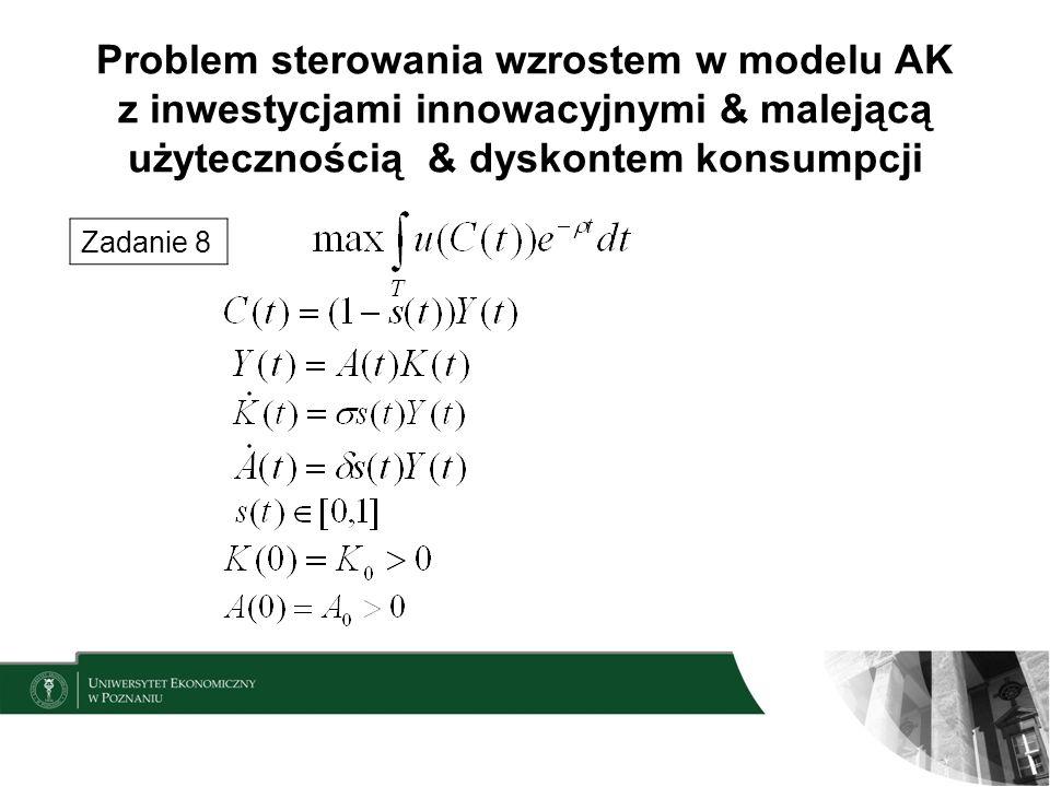 Problem sterowania wzrostem w modelu AK z inwestycjami innowacyjnymi & malejącą użytecznością & dyskontem konsumpcji