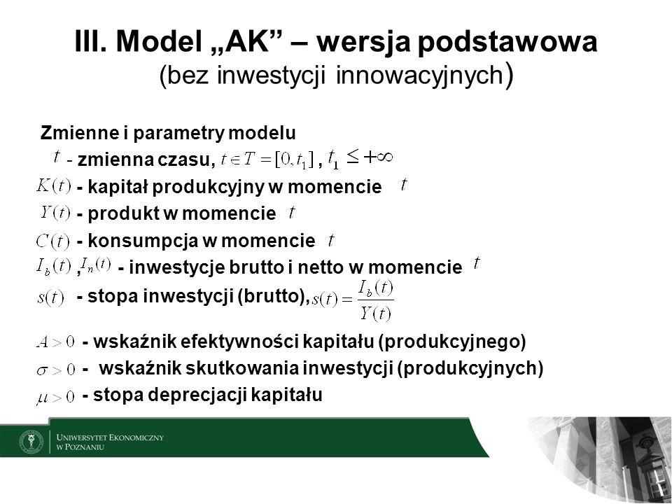 """III. Model """"AK – wersja podstawowa (bez inwestycji innowacyjnych)"""