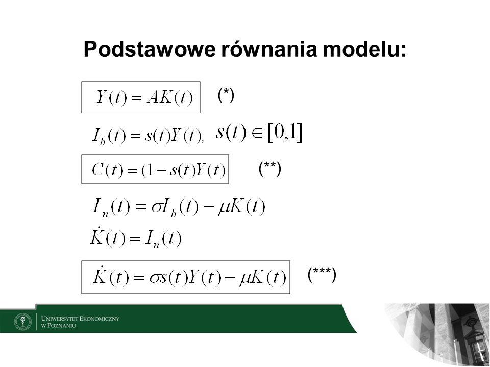 Podstawowe równania modelu: