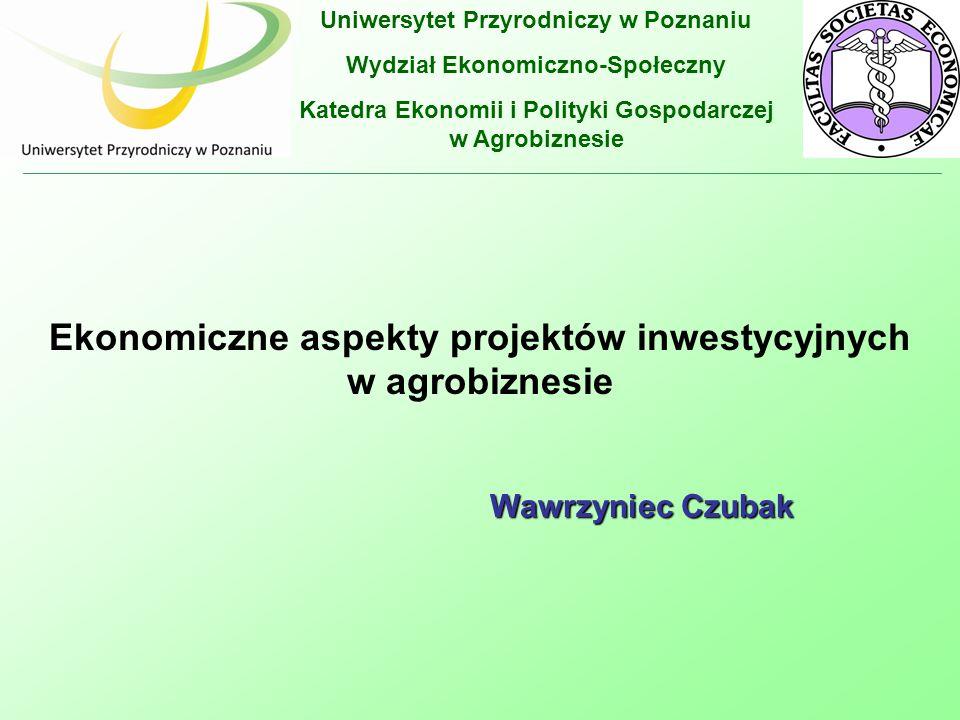 Ekonomiczne aspekty projektów inwestycyjnych w agrobiznesie