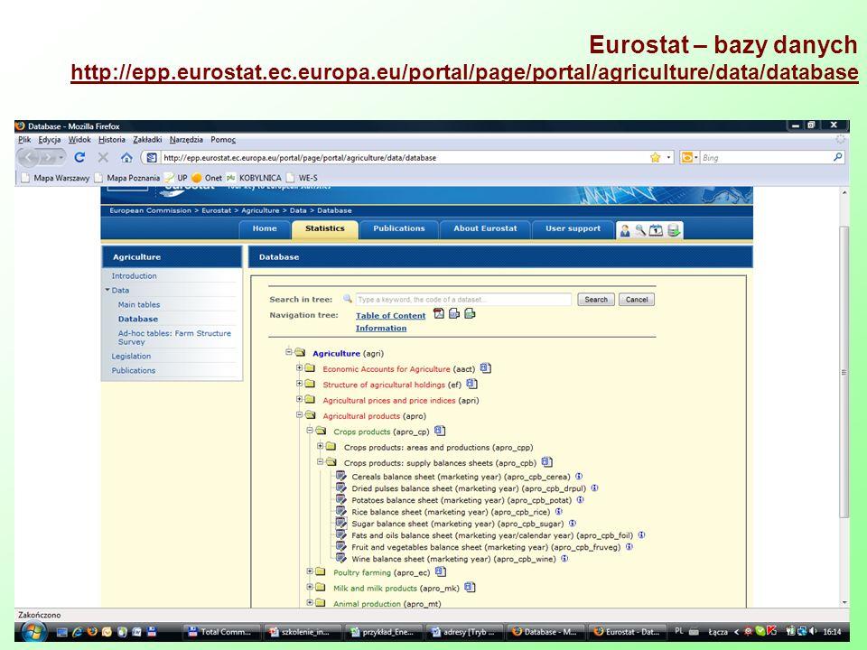 Eurostat – bazy danych http://epp. eurostat. ec. europa