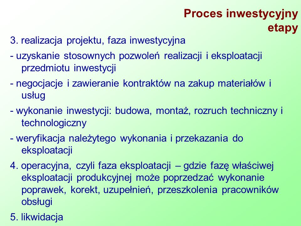 Proces inwestycyjny etapy