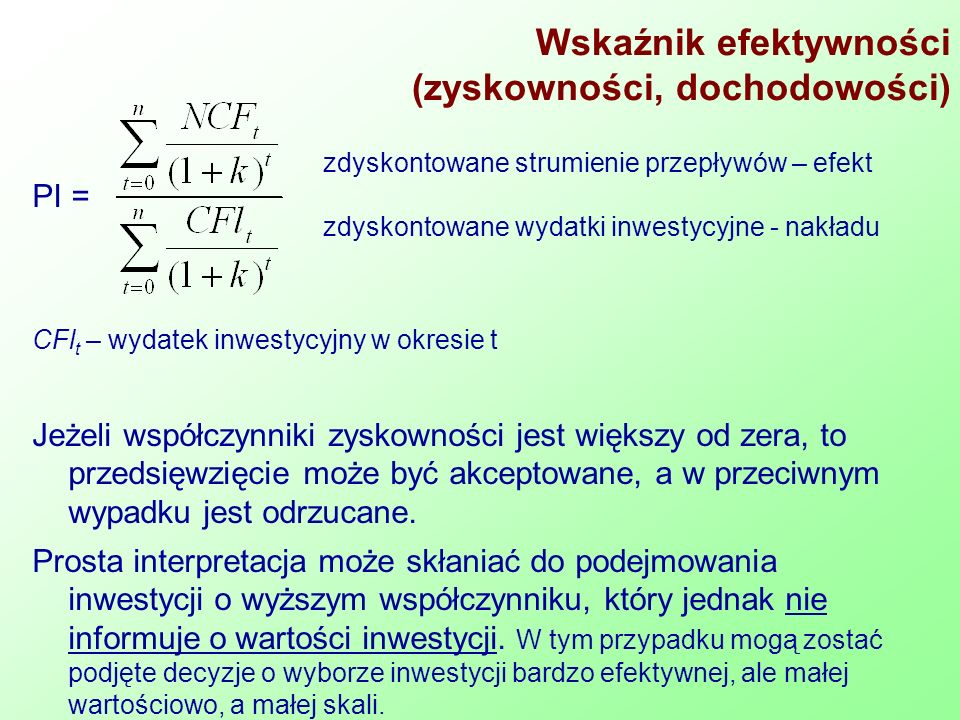 Wskaźnik efektywności (zyskowności, dochodowości)