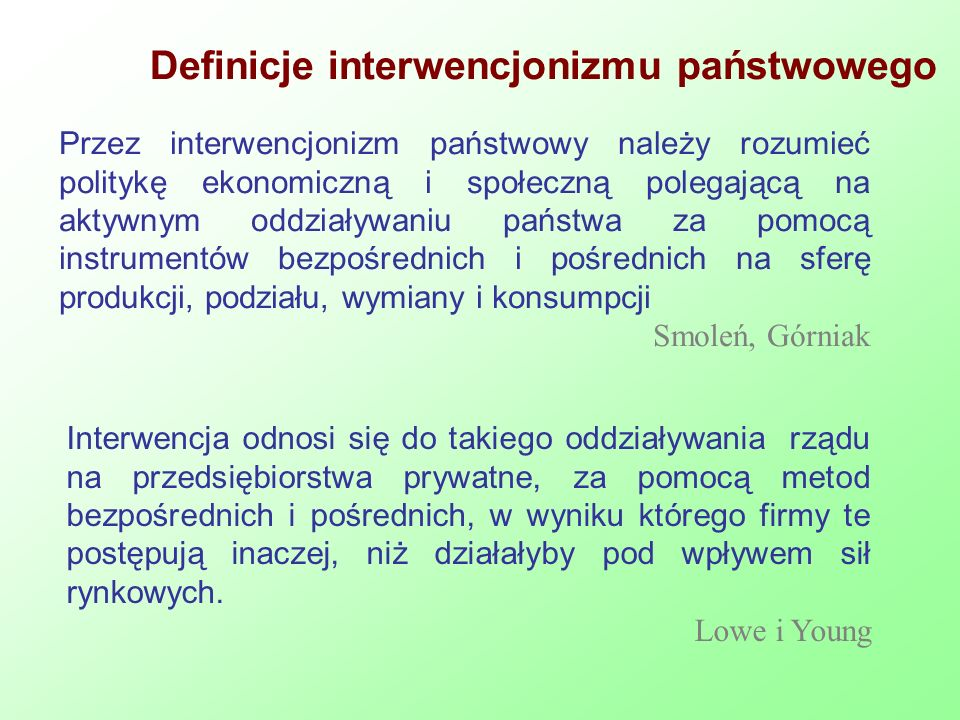 Definicje interwencjonizmu państwowego