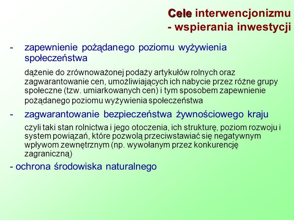 Cele interwencjonizmu - wspierania inwestycji