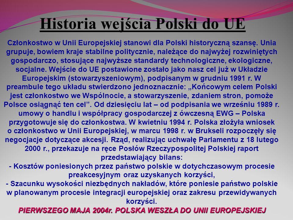PIERWSZEGO MAJA 2004r. POLSKA WESZŁA DO UNII EUROPEJSKIEJ