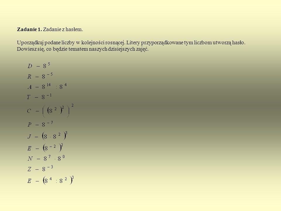 Zadanie 1. Zadanie z hasłem
