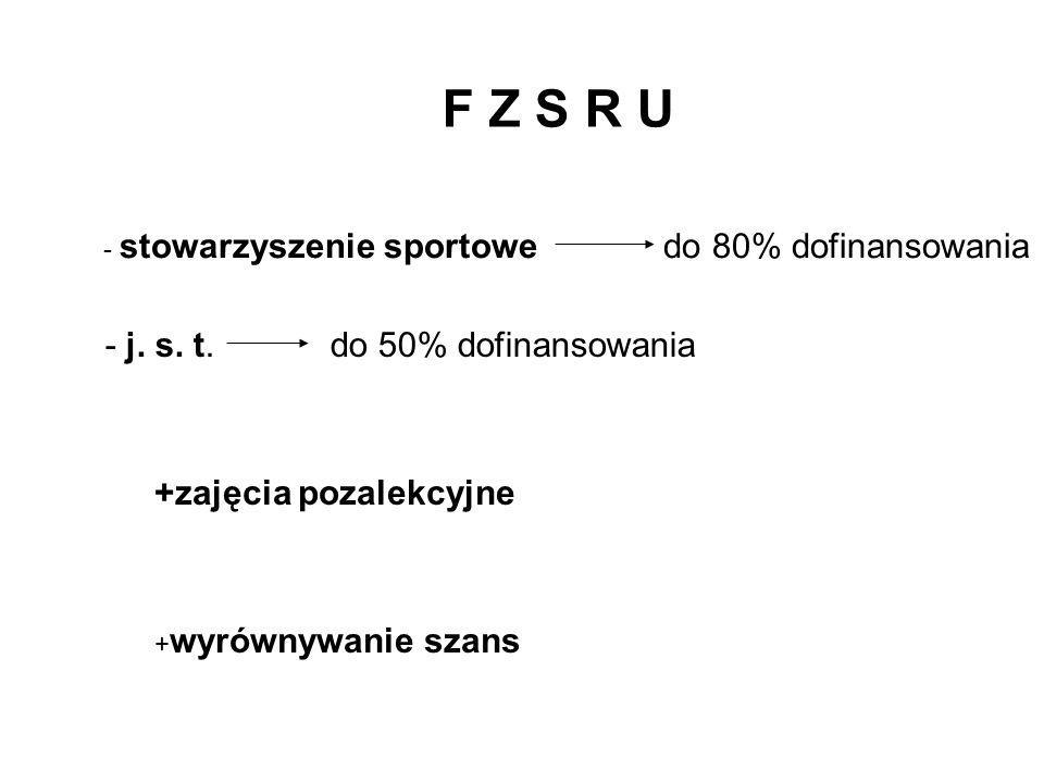 F Z S R U - j. s. t. do 50% dofinansowania +zajęcia pozalekcyjne