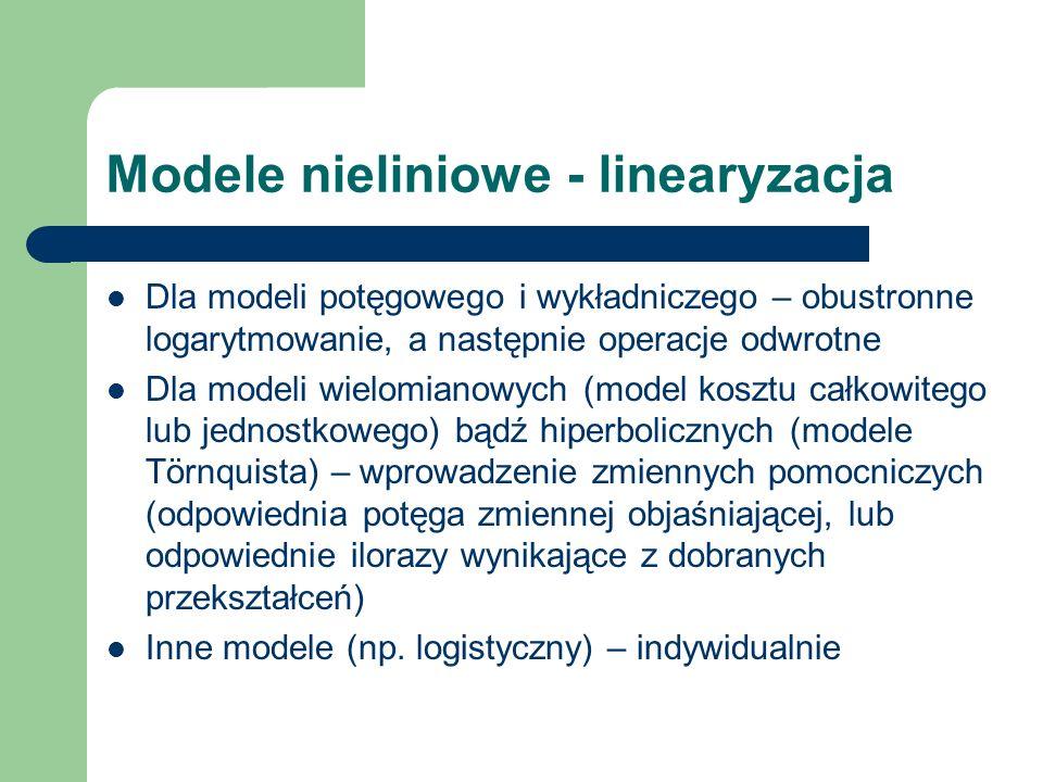Modele nieliniowe - linearyzacja