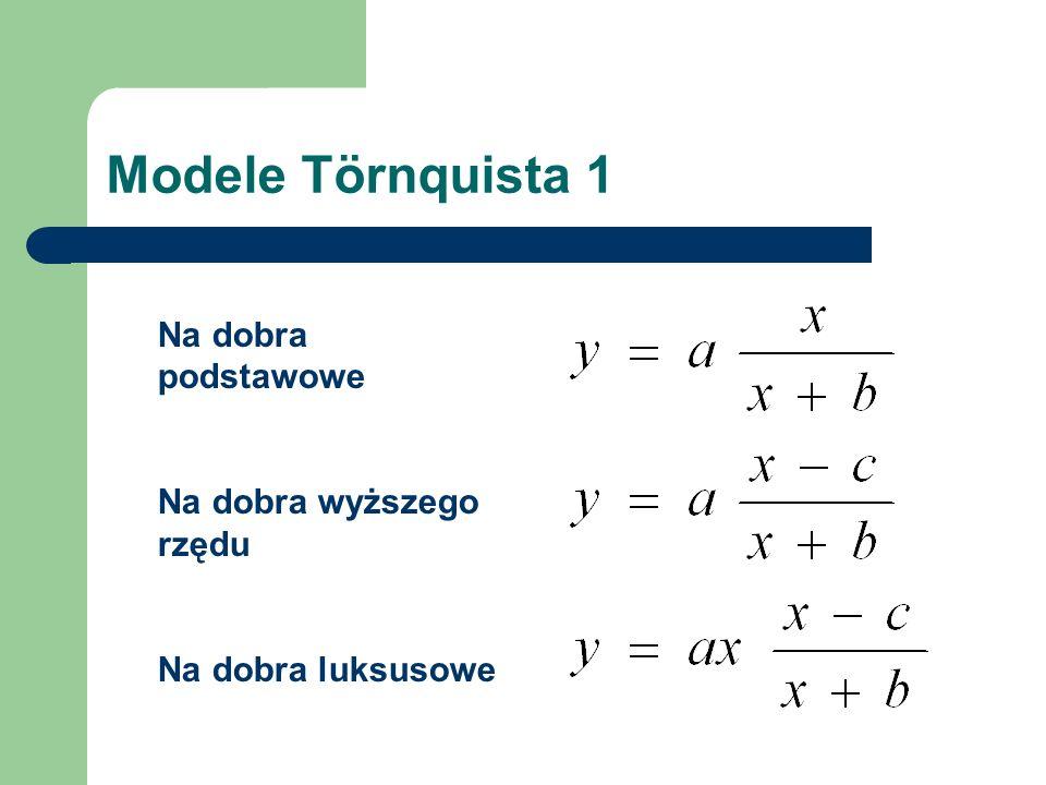 Modele Törnquista 1 Na dobra podstawowe Na dobra wyższego rzędu