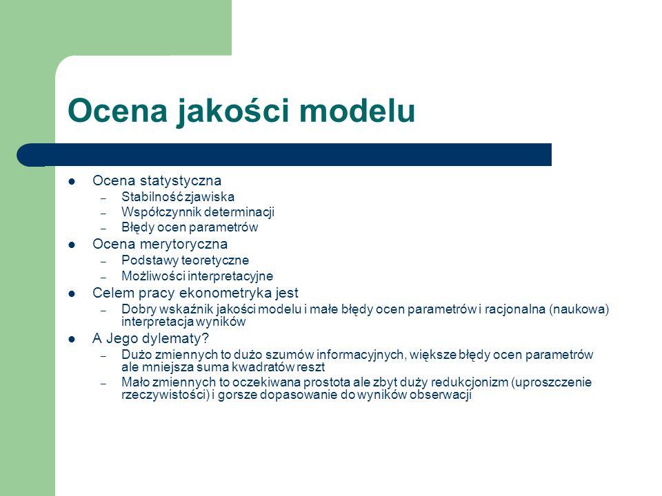 Ocena jakości modelu Ocena statystyczna Ocena merytoryczna