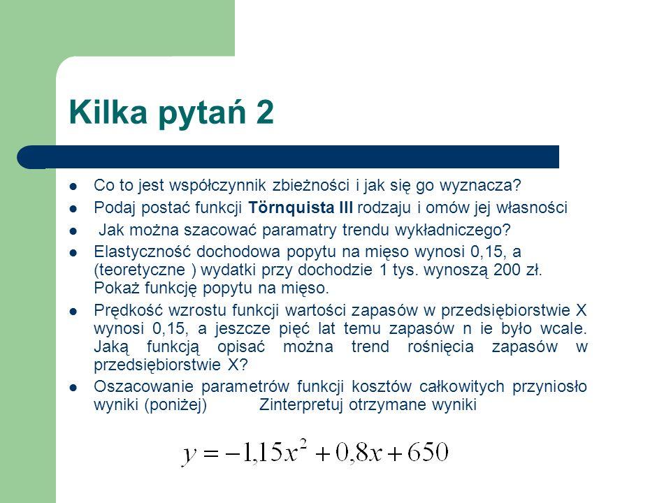 Kilka pytań 2 Co to jest współczynnik zbieżności i jak się go wyznacza Podaj postać funkcji Törnquista III rodzaju i omów jej własności.