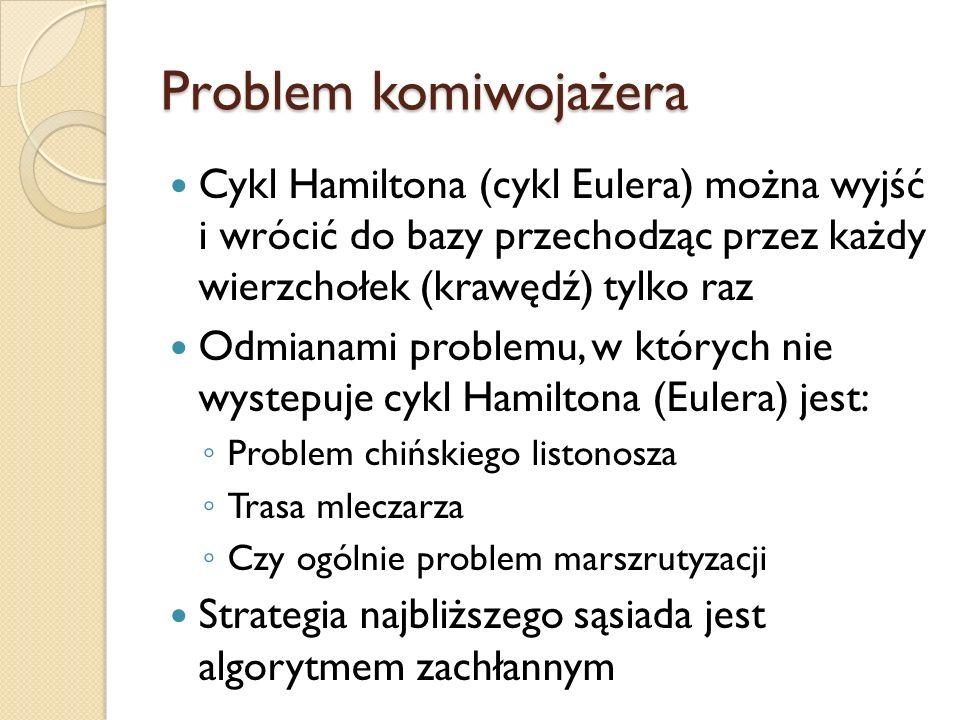 Problem komiwojażera Cykl Hamiltona (cykl Eulera) można wyjść i wrócić do bazy przechodząc przez każdy wierzchołek (krawędź) tylko raz.