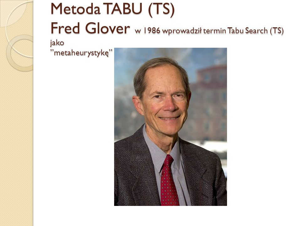 Metoda TABU (TS) Fred Glover w 1986 wprowadził termin Tabu Search (TS) jako metaheurystykę