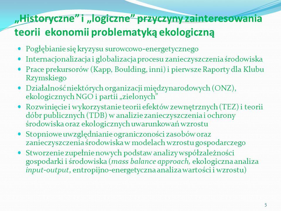 """""""Historyczne i """"logiczne przyczyny zainteresowania teorii ekonomii problematyką ekologiczną"""