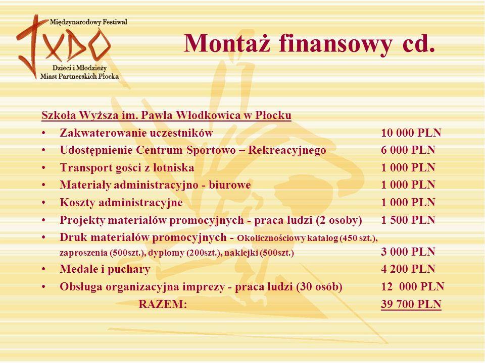 Montaż finansowy cd. Szkoła Wyższa im. Pawła Włodkowica w Płocku
