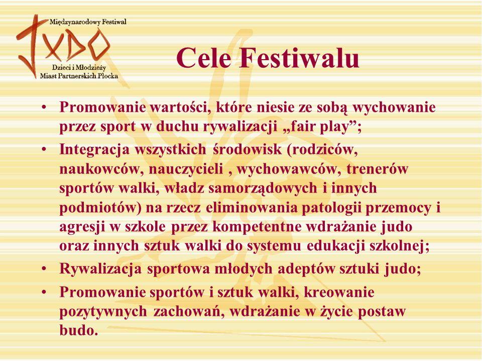 """Cele Festiwalu Promowanie wartości, które niesie ze sobą wychowanie przez sport w duchu rywalizacji """"fair play ;"""