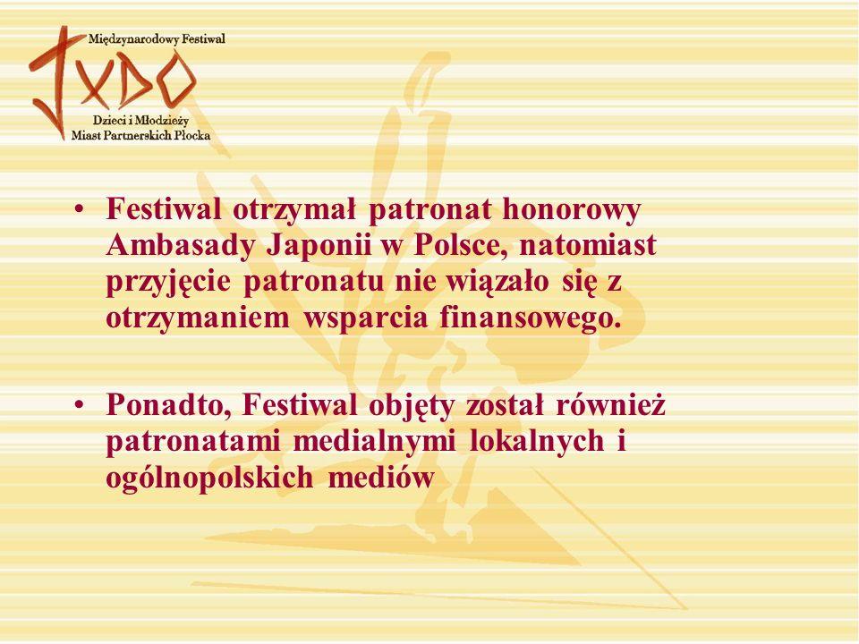 Festiwal otrzymał patronat honorowy Ambasady Japonii w Polsce, natomiast przyjęcie patronatu nie wiązało się z otrzymaniem wsparcia finansowego.