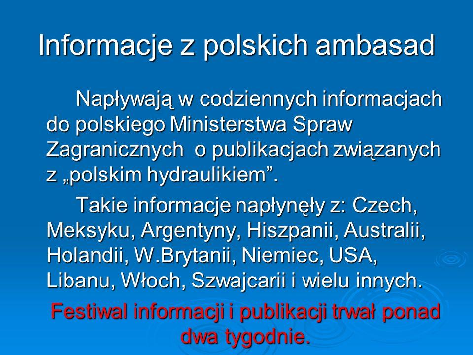 Informacje z polskich ambasad