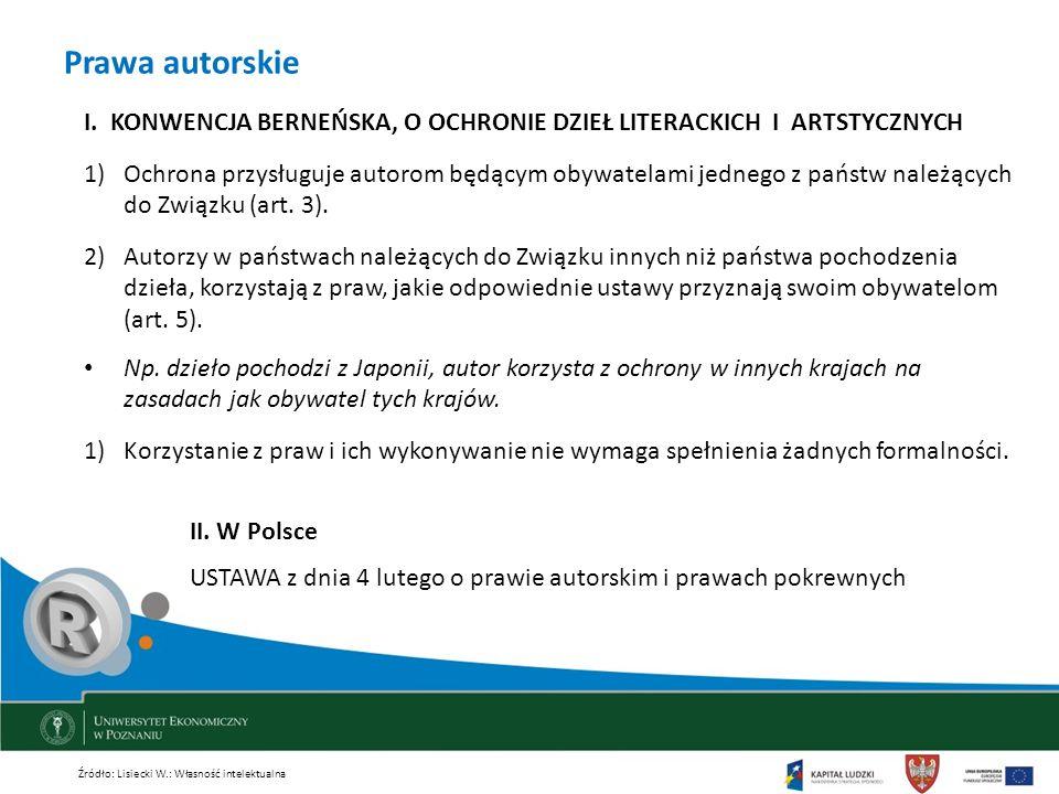 Prawa autorskie I. KONWENCJA BERNEŃSKA, O OCHRONIE DZIEŁ LITERACKICH I ARTSTYCZNYCH.