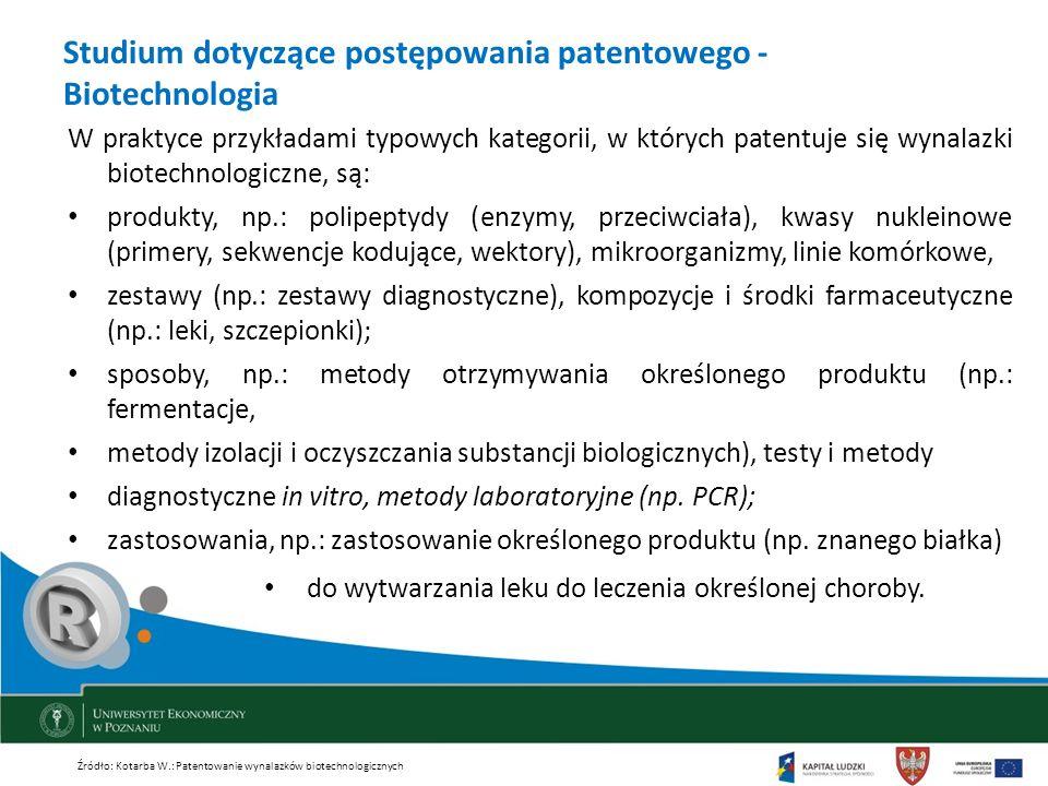 Studium dotyczące postępowania patentowego - Biotechnologia