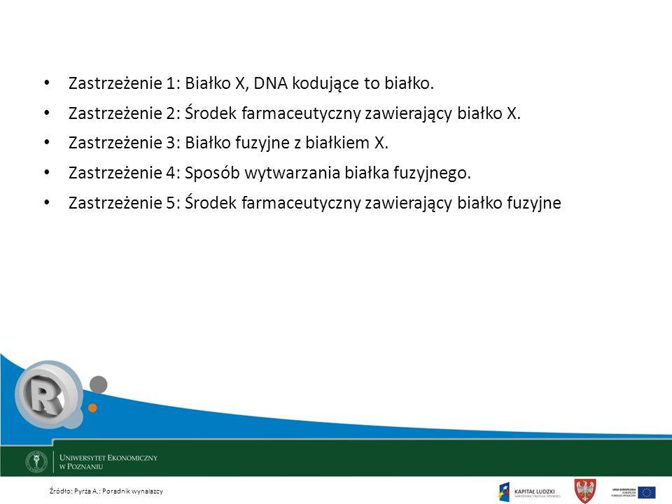 Zastrzeżenie 1: Białko X, DNA kodujące to białko.