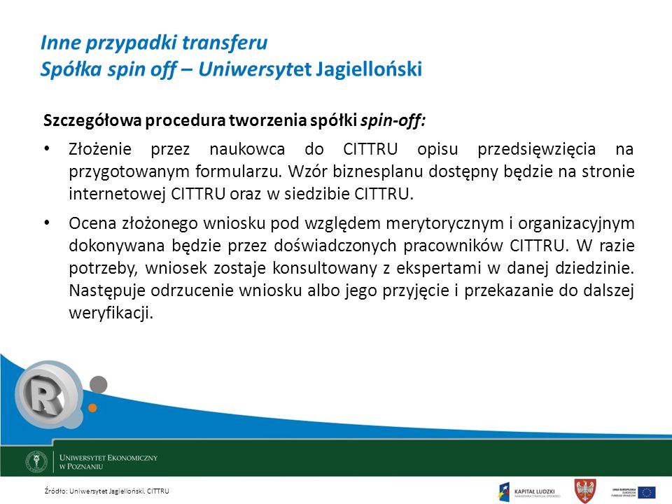 Inne przypadki transferu Spółka spin off – Uniwersytet Jagielloński