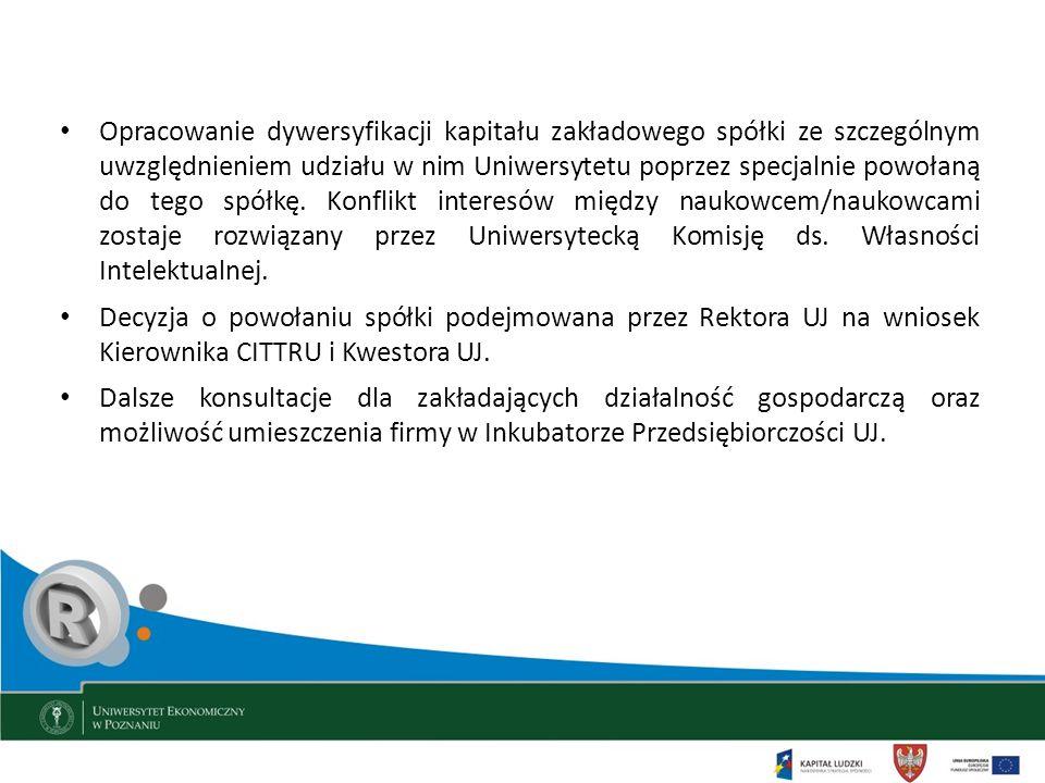 Opracowanie dywersyfikacji kapitału zakładowego spółki ze szczególnym uwzględnieniem udziału w nim Uniwersytetu poprzez specjalnie powołaną do tego spółkę. Konflikt interesów między naukowcem/naukowcami zostaje rozwiązany przez Uniwersytecką Komisję ds. Własności Intelektualnej.