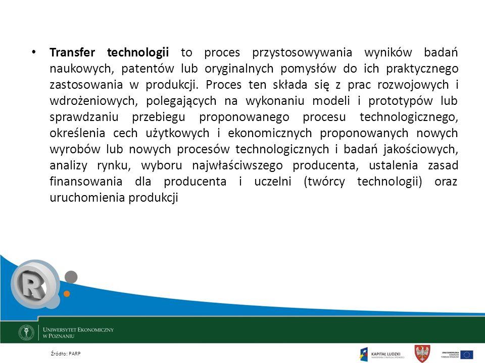 Transfer technologii to proces przystosowywania wyników badań naukowych, patentów lub oryginalnych pomysłów do ich praktycznego zastosowania w produkcji. Proces ten składa się z prac rozwojowych i wdrożeniowych, polegających na wykonaniu modeli i prototypów lub sprawdzaniu przebiegu proponowanego procesu technologicznego, określenia cech użytkowych i ekonomicznych proponowanych nowych wyrobów lub nowych procesów technologicznych i badań jakościowych, analizy rynku, wyboru najwłaściwszego producenta, ustalenia zasad finansowania dla producenta i uczelni (twórcy technologii) oraz uruchomienia produkcji