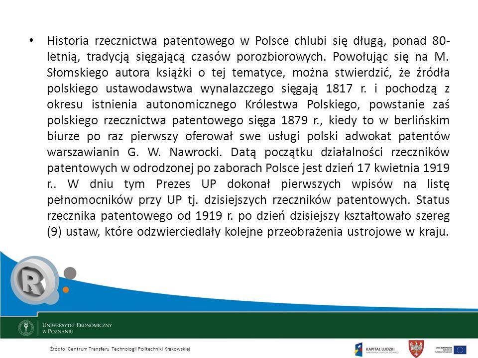 Historia rzecznictwa patentowego w Polsce chlubi się długą, ponad 80- letnią, tradycją sięgającą czasów porozbiorowych. Powołując się na M. Słomskiego autora książki o tej tematyce, można stwierdzić, że źródła polskiego ustawodawstwa wynalazczego sięgają 1817 r. i pochodzą z okresu istnienia autonomicznego Królestwa Polskiego, powstanie zaś polskiego rzecznictwa patentowego sięga 1879 r., kiedy to w berlińskim biurze po raz pierwszy oferował swe usługi polski adwokat patentów warszawianin G. W. Nawrocki. Datą początku działalności rzeczników patentowych w odrodzonej po zaborach Polsce jest dzień 17 kwietnia 1919 r.. W dniu tym Prezes UP dokonał pierwszych wpisów na listę pełnomocników przy UP tj. dzisiejszych rzeczników patentowych. Status rzecznika patentowego od 1919 r. po dzień dzisiejszy kształtowało szereg (9) ustaw, które odzwierciedlały kolejne przeobrażenia ustrojowe w kraju.