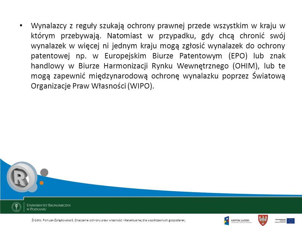 Wynalazcy z reguły szukają ochrony prawnej przede wszystkim w kraju w którym przebywają. Natomiast w przypadku, gdy chcą chronić swój wynalazek w więcej ni jednym kraju mogą zgłosić wynalazek do ochrony patentowej np. w Europejskim Biurze Patentowym (EPO) lub znak handlowy w Biurze Harmonizacji Rynku Wewnętrznego (OHIM), lub te mogą zapewnić międzynarodową ochronę wynalazku poprzez Światową Organizacje Praw Własności (WIPO).
