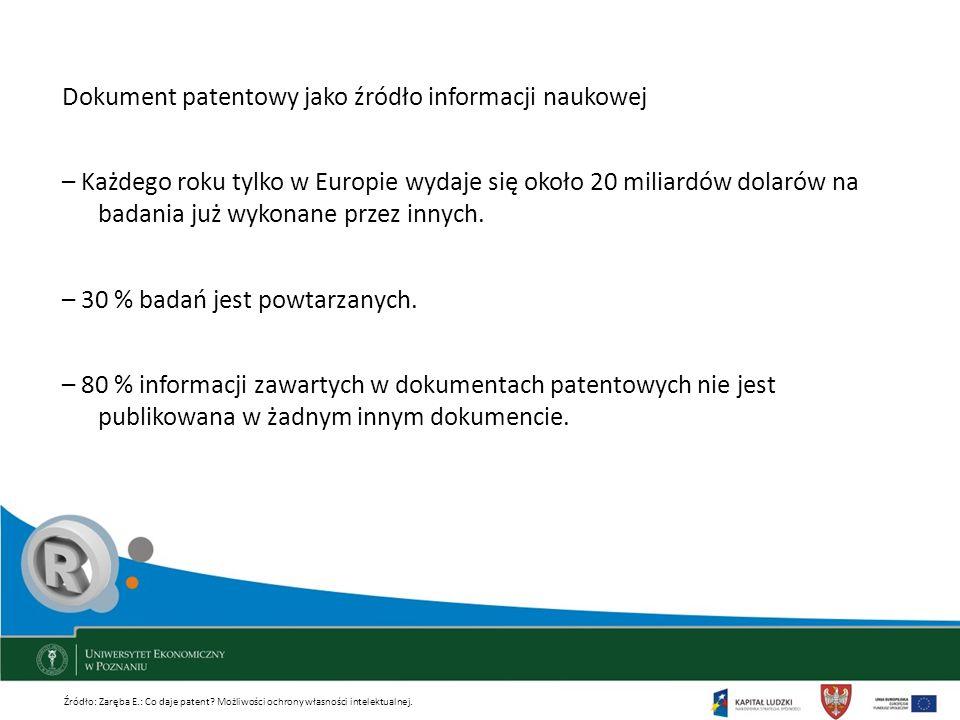Dokument patentowy jako źródło informacji naukowej