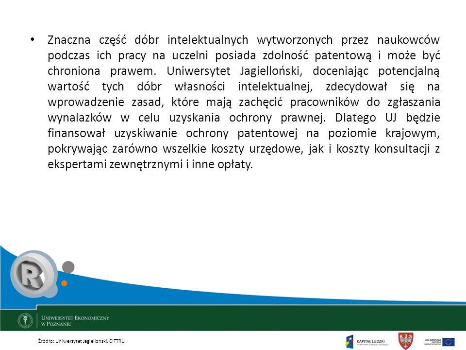 Znaczna część dóbr intelektualnych wytworzonych przez naukowców podczas ich pracy na uczelni posiada zdolność patentową i może być chroniona prawem. Uniwersytet Jagielloński, doceniając potencjalną wartość tych dóbr własności intelektualnej, zdecydował się na wprowadzenie zasad, które mają zachęcić pracowników do zgłaszania wynalazków w celu uzyskania ochrony prawnej. Dlatego UJ będzie finansował uzyskiwanie ochrony patentowej na poziomie krajowym, pokrywając zarówno wszelkie koszty urzędowe, jak i koszty konsultacji z ekspertami zewnętrznymi i inne opłaty.