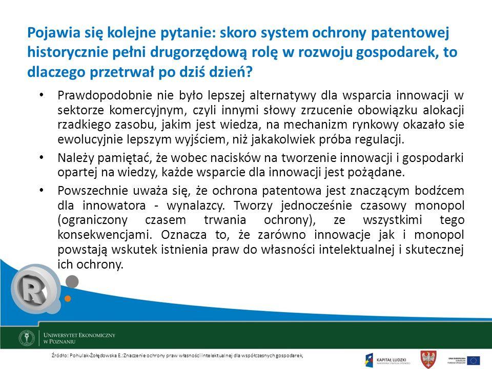 Pojawia się kolejne pytanie: skoro system ochrony patentowej historycznie pełni drugorzędową rolę w rozwoju gospodarek, to dlaczego przetrwał po dziś dzień