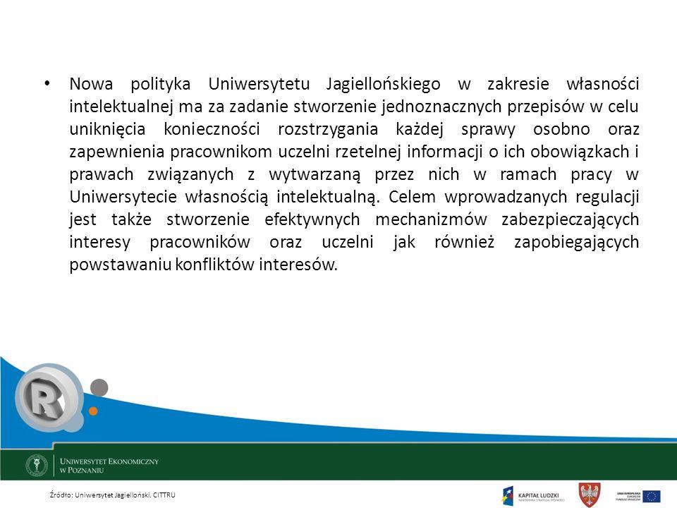 Nowa polityka Uniwersytetu Jagiellońskiego w zakresie własności intelektualnej ma za zadanie stworzenie jednoznacznych przepisów w celu uniknięcia konieczności rozstrzygania każdej sprawy osobno oraz zapewnienia pracownikom uczelni rzetelnej informacji o ich obowiązkach i prawach związanych z wytwarzaną przez nich w ramach pracy w Uniwersytecie własnością intelektualną. Celem wprowadzanych regulacji jest także stworzenie efektywnych mechanizmów zabezpieczających interesy pracowników oraz uczelni jak również zapobiegających powstawaniu konfliktów interesów.
