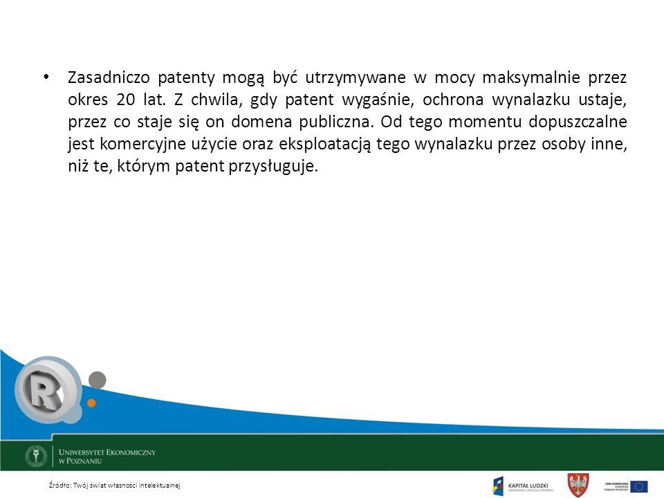 Zasadniczo patenty mogą być utrzymywane w mocy maksymalnie przez okres 20 lat. Z chwila, gdy patent wygaśnie, ochrona wynalazku ustaje, przez co staje się on domena publiczna. Od tego momentu dopuszczalne jest komercyjne użycie oraz eksploatacją tego wynalazku przez osoby inne, niż te, którym patent przysługuje.