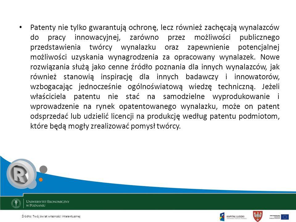 Patenty nie tylko gwarantują ochronę, lecz również zachęcają wynalazców do pracy innowacyjnej, zarówno przez możliwości publicznego przedstawienia twórcy wynalazku oraz zapewnienie potencjalnej możliwości uzyskania wynagrodzenia za opracowany wynalazek. Nowe rozwiązania służą jako cenne źródło poznania dla innych wynalazców, jak również stanowią inspirację dla innych badawczy i innowatorów, wzbogacając jednocześnie ogólnoświatową wiedzę techniczną. Jeżeli właściciela patentu nie stać na samodzielne wyprodukowanie i wprowadzenie na rynek opatentowanego wynalazku, może on patent odsprzedać lub udzielić licencji na produkcję według patentu podmiotom, które będą mogły zrealizować pomysł twórcy.