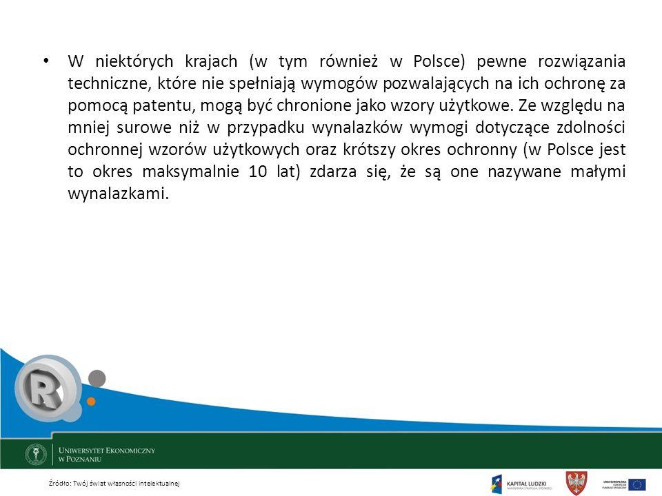 W niektórych krajach (w tym również w Polsce) pewne rozwiązania techniczne, które nie spełniają wymogów pozwalających na ich ochronę za pomocą patentu, mogą być chronione jako wzory użytkowe. Ze względu na mniej surowe niż w przypadku wynalazków wymogi dotyczące zdolności ochronnej wzorów użytkowych oraz krótszy okres ochronny (w Polsce jest to okres maksymalnie 10 lat) zdarza się, że są one nazywane małymi wynalazkami.