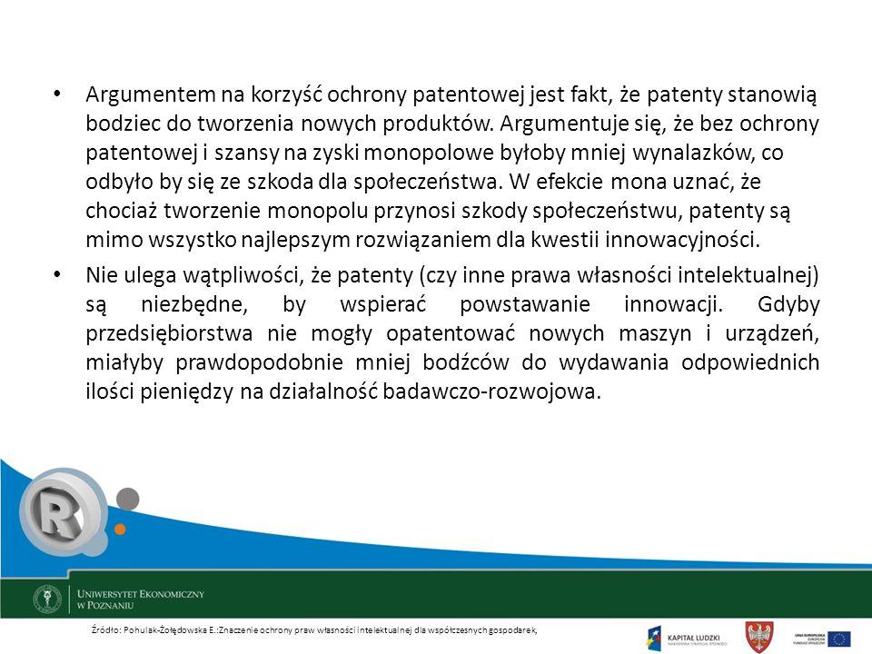 Argumentem na korzyść ochrony patentowej jest fakt, że patenty stanowią bodziec do tworzenia nowych produktów. Argumentuje się, że bez ochrony patentowej i szansy na zyski monopolowe byłoby mniej wynalazków, co odbyło by się ze szkoda dla społeczeństwa. W efekcie mona uznać, że chociaż tworzenie monopolu przynosi szkody społeczeństwu, patenty są mimo wszystko najlepszym rozwiązaniem dla kwestii innowacyjności.