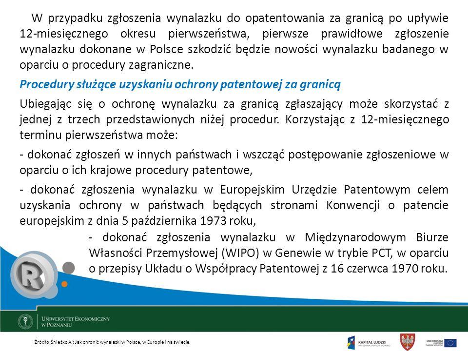 Procedury służące uzyskaniu ochrony patentowej za granicą
