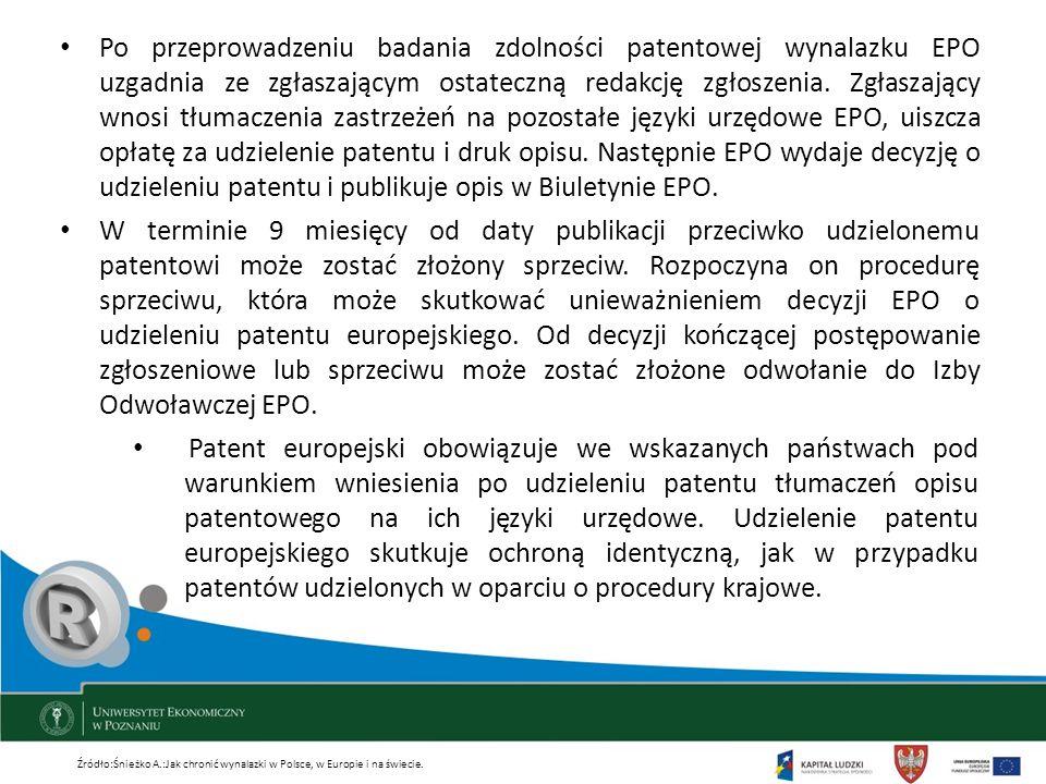Po przeprowadzeniu badania zdolności patentowej wynalazku EPO uzgadnia ze zgłaszającym ostateczną redakcję zgłoszenia. Zgłaszający wnosi tłumaczenia zastrzeżeń na pozostałe języki urzędowe EPO, uiszcza opłatę za udzielenie patentu i druk opisu. Następnie EPO wydaje decyzję o udzieleniu patentu i publikuje opis w Biuletynie EPO.